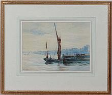 L.J. Woudby early XX  Watercolour  Moored sail barges at Battersea  Signed lower left  9 7/8 x 13 7/8