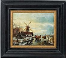 Ross Steffan XX  Oil on panel  Dutch frozen river landscape with figures, horse and windmill Ascribed verso  7 3/4 x 9 3/4