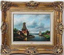 J Carracci XX  Oil on panel   A Dutch river landscape with windmill, boats and conurbation to distance   Signed lower left  11 3/4 x 15 3/4