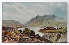 Indistinctly signed ' M****** Green ' XIX-XX Scottish School  Oil on canvas  Stone crofts next to a Loch  Signed lower right  18 x 28