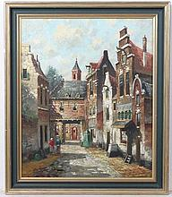 Helen Hoeven. Early XX Dutch  Oil on canvas  A Dutch street scene with figures  Signed lower left  23 1/2 x 19 1/2