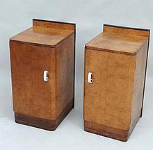 Art Deco : A pair of birds eye maple bedside cabinets with black band to top and white loop handles. The whole standing 29