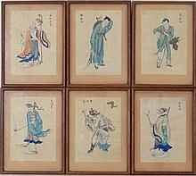 Early - Mid XX Chinese School,  A set of 6 hand coloured figural images,  6 of the eight Chinese immortals.  Bear Mee Sun ( Hong Kong ) label verso  Each 6 1/2 x 4 1/2