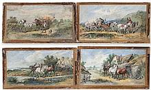H Beall XIX -XX  Watercolours x 4  Country scenes with animals and figures  Signed lower right  Each 6 7/8 x 13