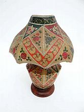 An electric table lamp with Indian decorated velum like shade etc. approx 13 1/2