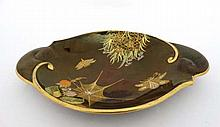 A Carltonware Rouge Royal 2-handled dish decorated in Spider Web pattern with further insects, butterflies and flowers below a large spider's web. Diameter 10 1/4