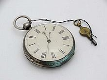 Islamic Pocketwatch : an unusual highly engraved multibridged movement , showing several cresent Moons within a white metal case , the key wind movement having a cream dial with central sweeping seconds hand ( blued hand with pierced quatrefoil end)