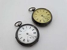 HM Silver pocketwatches : ' JG Graves Sheffield The Express English Lever ', a HMsilver cased key wind pocket watch, with inset seconds dial at 6 , Chester 1898 together with a ' MT Galloway Leeds ' key wind HM Silver cased Pocket watch , Birmingham