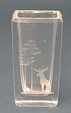 Swedish Art Glass :  Bengt Edenfalk  for Skruf of Sweden : A mid 20thC vase with etched elk and tree decoration. Signed under 6 1/4