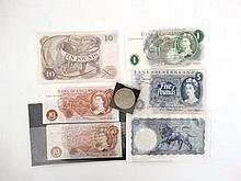 English Bank Notes : a Bank of England' £10 Pounds ' note , ' £5 Pounds ' note (x2), £ 1 pound note , 2 x 10 shillings note and a Five Shillings coin