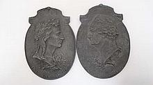 A pair of 19thC handed cast oval reliefs of the notable late 18thC poets Johann Wolfgan Von Goethe ( 1749-1832)  and  Johann Christoph Friedrick Von Schiller (1759-1805). Each approx 7