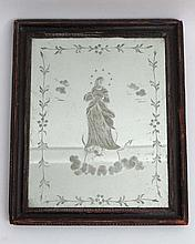 A late 18thC engraved mirror in period frame The whole 12 3/4