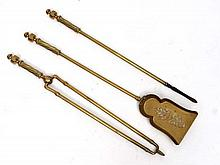 A c1900 brass 3-piece fire tool set comprising poker tongs and shovel . Approx 25