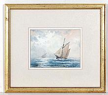 John Watson (1939) Marine School ,  Watercolour and gouache ,  ' Trading Ketch' at sea ,  Signed lower right ,  5 x 6 1/2