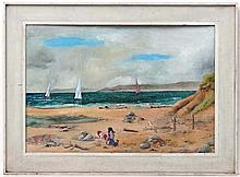Mid XX English School  Oil on board  Seascape showing yachts and children on the beach  22 x 32