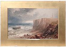 Manner of J M W Turner XIX  Oil on board  A de-masted vessel off the coast near a lighthouse  Indistinctly signed lower right  10 3/4 x 17 1/2