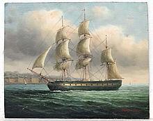 J Hardy Marine School XX  Oil on board  A Warship off a coastal Town  Signed lower right  8 x 10