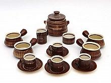 Vintage Retro ceramics : Iden Pottery Sussex Rye , a 4 place coffee set to include cups and saucers ( with cream / milk jug and sugar bowl ) and soup / Stock pot ( lidded)  ( 15) items