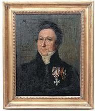 XVIII Military School Oil on canvas , portrait ' Col . Gardiner who fell at the Battle Of Prestonpans 1745 ' Titled verso 23 x 18