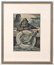 Advertising : a coloured etching for  ' Lifebuoy Royal Disinfectant Soap '  depicting a lifeboatman resting on a stone ledge, circa 1900. 12 3/4 x 9