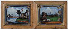 XIX Reverse glass paintings  A pair  ' Ruins of Pembroke Castle '  ' Ruins of Rochester Castle '  Each 8 3/4 x 10 3/5