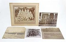 Militaria : A selection of WWI and earlier British military photographs , comprising an official photograph of a squad of the Suffolk Regiment , another showing the whole company with the same Captain & NCOs in the foreground and cadets on the flank