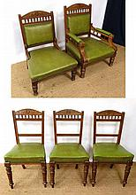 A late 19thC part salon suite comprising his and hers upholstered low chairs and 3 overstuffed dining chairs