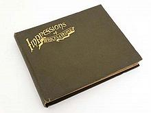 Indian sepia and Black and White Photograph album entitled ' Impressions of Places & People ' having titled images of Trains , Cars , Architecture , Natives , Soldiers ,etc