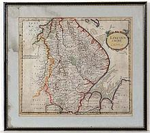 Map:  A 17thC hand coloured map of Lincolnshire by Robert Morden . Aperture 16 1/2'' x 14