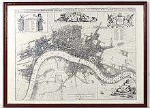Maps ; A reproduction monochrome map of London showing Westminster and Southwark , behind non-reflective glass.  After J.Oliver, c 1680. Re printed by Guildhall Library London. Frame Apeture 18 1/2'' x 26''.  Framed.