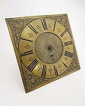 Longcase clock Dial : ' George Guest Aston ' [ b. 1658-d.1710 ( Birmingham ) an 11'' c.1700 brass dial, originally 30hr movement with calendar aperture, This Aston is part of Birmingham.