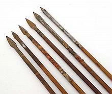 Militaria : A collection of six 18thC Indian Moghul arrows , comprising two with double edged points , one triform point , one ridged point and two bodkin - points . Each approximately 22