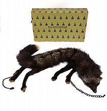 A 1930/40s silver fox fur stole in original Harvey Nichols box