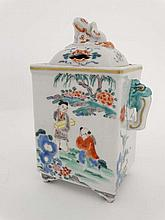 An 18thC Chinese porcelain incense burner and cover, decorated in polychrome with figures in landscapes and having figural handles and knop above an arched cover and standing on 4 short feet. Unmarked. Height 6 1/4