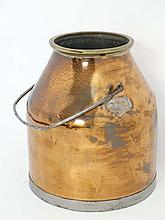 A 19thC copper milking churn with brass rim and steel metal swing handle 14 /3