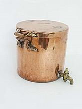 A large copper lidded vessel with phosphor bronze handles with brass tap 15