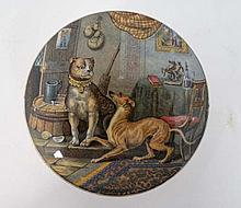 A Victorian Prattware pot lid and base  entitled 'Contrast' showing two dogs, and based on a picture by Landseer. ( number 261 ) Approx 4