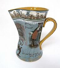 A Rare Royal Doulton Series Ware jug printed on a blue ground with yellow handle, the jug with pinched spout, depicting a seated and titled Dr. Johnson and 'Let us take a walk down Fleet Street' and a titled image of 'Temple Bar' to reverse. Printed