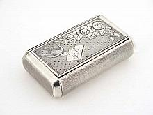 A French silver snuff box with engine turned decoration to body and engraved sweetheart decoration to lid depicting a swallow bird with letter in beak engraved PL and floral decoration.  Approx 3
