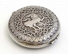 Ceylon / Sri Lanka : A white metal compact decorated with elephant etc   Approx 2 3/4