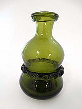 Ekenas Sweden : A green Swedish art glass bottle / carafe signed under ' Ekenas Sweden L 913 ' 6 1/2