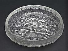 Finnish Art Glass : A ' Lunaria '  Art glass circular bowl with clear textured decoration Designed by Tapio Wirkkala for Iittala of Finland  . Approx 11