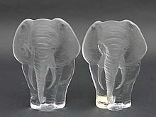 Mats Jonassen Swedish Art Glass : 2 safari wildlife elephant plaques / art glass sculptures framed as elephants by Mats Jonassen . Signed under 5 3/4