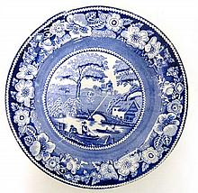 An early 19thC blue and white transfer printed plate decorated in Nuneham Courtenay pattern. Diameter 8 3/4