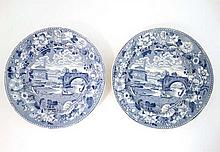 A pair of early blue and white transfer printed plates decorated in Ponte Rotto pattern by Lockett & Hulme. Printed title marks to base. Diameter 10