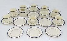 A Minton '' Clifton '' pattern part tea set . Comprising 8 tea cups, milk jug, sugar bowl, 8 saucers and 6 side plates. Blue Minton mark to base.