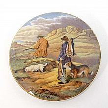 Victorian Pratt pot lid entitled  ' The Sportsman ' depicting figures and dogs with gun and quarry  (num 305) 4 1/4