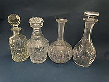 Decanters: 2 squared matching lead crystal decanters with star cut decoration approx. 10