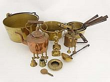 Brass copper etc ; A quantity of assorted items to include jam pan, pots, ladle, candlesticks etc