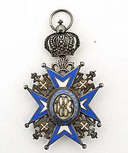Medal : A Serbian Order of St. Sava with Crown Suspension - in silver and enamels, Saint in red and yellow trimmed robes, probably 1920-30 period issue, The Order of St. Sava was a decoration instituted by the order King Milan of Serbia of on 23